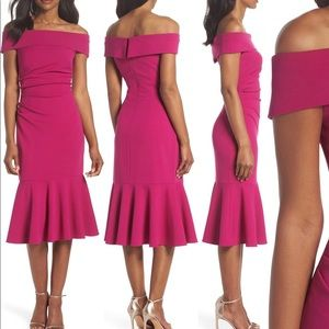 Raspberry color off shoulder touched Midi dress